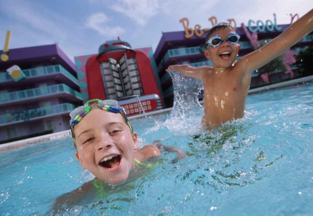 Kids having a blast at one of the pools at Disney's Pop Century Resort during their Disney Vacation